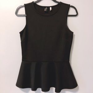 H&M | Black Peplum Sleeveless Top
